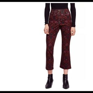 NWT Free People Graphic Flared Cropped Pants